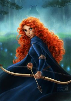 "Brave, Disney, Merida, the scottish princess who wanted to be an archer. ""Merida is my favorite for many reasons. A big reason is she's the only princess that lived happily ever after without a prince"" Disney Pixar, Walt Disney, Disney Fan Art, Disney And Dreamworks, Disney Animation, Disney Love, Disney Magic, Disney Characters, Brave Disney"