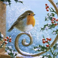Good Afternoon sister have a relaxing Afternoon xxx❤❤❤💌 Christmas Cards To Make, Christmas Pictures, Christmas Art, Winter Christmas, Vintage Christmas, Bird Painting Acrylic, Robin Bird, Winter Scenery, Bird Artwork