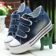 Women Shoes lace up Height increasing casual canvas shoes women Hook&Loop  platform women denim shoes 6c169