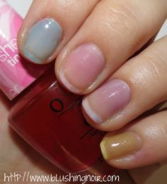Here are the OPI Sheer Tints each swatched directly on the nail: