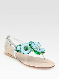 Glitter Jeweled Flower & Metallic Leather Sandals by Miu Miu Just Fab Shoes, Crazy Shoes, Me Too Shoes, Awesome Shoes, Dream Shoes, Metallic Sandals, Leather Sandals, Heeled Boots, Shoe Boots