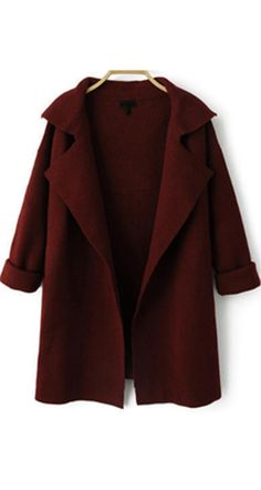 Long sweater coat for women at romwe .com .This Wine Red Loose Knit Cardigan coat is long sleeve ,lapel collar and cotton material made. Hooded sweater coat can't be more warm and soft !