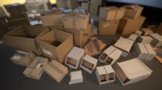 A set of realistic Cardboard Boxes aimed to fill in-game environments. Game Environment, Book Journal, Cube, Cardboard Boxes, Concept, Storage, Sherlock, Projects, Buildings