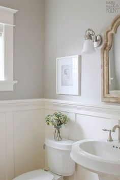 My Home Paint Colors: Warm Neutrals and Calming Blues - Saw Nail and Paint A pretty and fresh whole home paint color scheme using warm neutrals and calming blues. See photos of the paint colors used in actual rooms. Bathroom Paint Colors, Grey Paint Colors, Paint Colors For Home, Neutral Paint, Neutral Bathroom Colors, Stain Colors, Guest Bathrooms, Small Bathroom, Bathroom Ideas