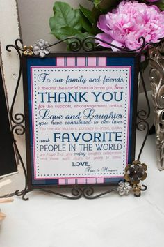 Wedding Thank You Sign. Wedding Signs. Pink & Navy Wedding.