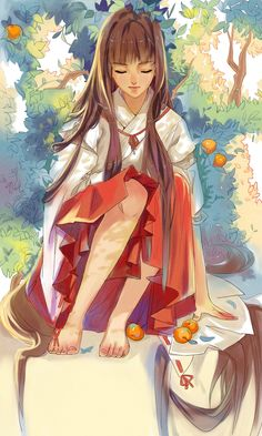 ✮ ANIME ART ✮ miko priestess. . .Shinto priestess uniform. . .long hair. . .oranges. . .trees. . .nature. . elegant. . .kawaii