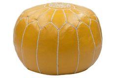Moroccan Leather Pouf, Saffron