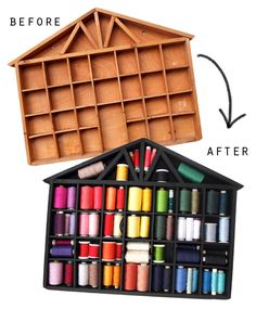 thread storage shelf makover before and after