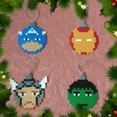 The Avengers Christmas Baubles hama perler beads by ZoZoTings