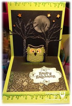 Caz Counsell using the Pop it Ups Lots of Pops, All Seasons Tree, Poppy the Owl and Damask Embossing folder by Karen Burniston for Elizabeth Craft Designs. - A STAMPING & CHIRPING Corner: Meet Frankenpop - 2nd card for the Karen Burniston Designer Challenge