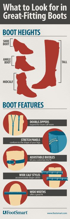 Double zippers, stretch panels, adjustable buckles, and wide calf styles are just a couple features to look for in great-fitting boots.  Shop at FootSmart for the following boot styles: short, ankle, mid calf and tall. #Boots