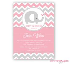 Baby shower girl baby elephant grey and pink by ceremoniaGlam