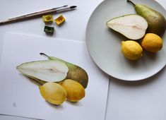 Watercolor still life with pears