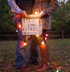 Love the Christmas Lights! Can double as a save the date and a Christmas card! #engagement #christmas
