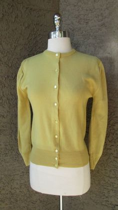 VTG 50s Mustard Yellow Cardigan Sweater Pin-Up Rockabilly Pearl Button Down Sz S #SidneyGould