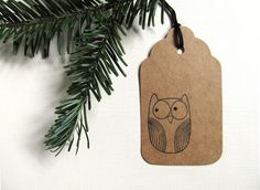 8 Owl Gift Tags, Kraft, Party Favor Tags, Prestrung, Woodland, Rustic, Neutral - pinned by pin4etsy.com