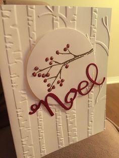 Whisper white, cherry cobbler, Joyful Season, Woodland embossing folder, stampin up