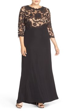 Free shipping and returns on Tadashi Shoji Lace Tulle & Crepe A-Line Gown (Plus Size) at Nordstrom.com. This stunning gown flaunts a tulle lace bodice patterned with a corded floral design and a silky crepe skirt that drapes fluidly to the floor. Sheer-illusion raglan sleeves add to the enchantment