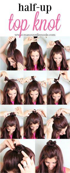 half up top knot tutorial