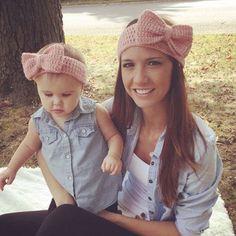 Pas cher Nouvelle maman et moi crochet hiver bandeau ensemble mode femmes knit…