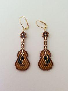 "Handmade Beaded Earrings ""Guitars"""