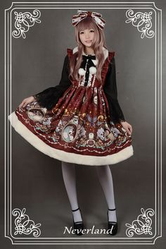 Midnight Theater Fur Collar Jumper Skirt - $77.59 : Soufflesong,An Indie Lolita Fashion ,Gothic Vintage Brand