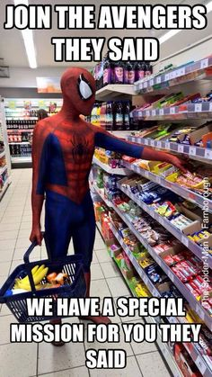 Grab me a coffee while you're out... #SpiderMan  /  http://saltlakecomiccon.com/slcc-2015-tickets/?cc=Pinterest