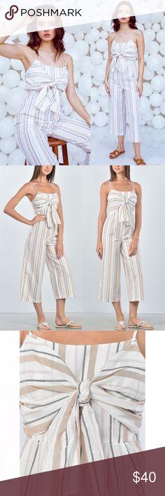 946da80b6c4d Ivory Knotted Stripe Jumpsuit Details  sleeveless