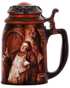 1 -  ART MONKS  Porcelain stein, .5L, transfer & handpainted, marked CAC Lenox, copper & silver lid,
