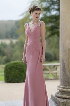 Beaded #Strap Mauve V Neck #Sleeveless #Sheath Floor Length #Evening #Dress