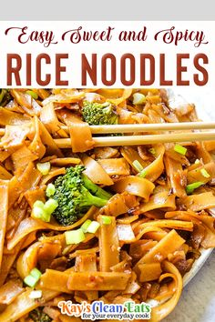 Easy Sweet and Spicy Rice Noodles are a quick stir fry that will be ready in 20 minutes! Serve it for lunch or dinner! This is a super easy, gluten-free, and vegan dish. Nothing I love more than noodles!! Especially Asian noodles, I can never turn them down! These Easy Sweet and Spicy Rice Noodles are made with lighter ingredients and also refined sugar-free. | Kay's Clean Eats @kayscleaneats #asianrecipes #easyasianrecipes #dinnerideas #familydinner #sweetandspicyrecipes #kayscleaneats Delicious Vegan Recipes, Real Food Recipes, Vegetarian Recipes, Snack Recipes, Dinner Recipes, Asian Noodles, Rice Noodles, Clean Eating For Beginners, Clean Eating Recipes