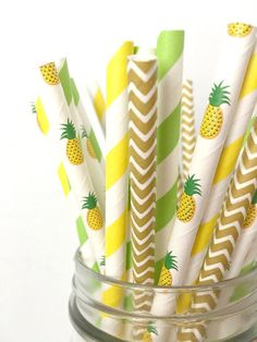 Pineapple Paper Straws  Tropical Pineapple Party Decor Luau