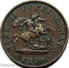 """""""St George the Dragon Slayer"""" 1850 BANK OF UPPER CANADA Halfpenny  Sku #QP10 Old Coins, Rare Coins, Saint George And The Dragon, Canadian Coins, Dragon Slayer, Saints, Fishing, Canada, Notes"""