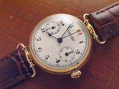 Vintage Ulysse Nardin chronograph solid gold 18k enamel dial all original great