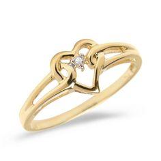 10K Yellow Gold Diamond Heart Ring - List price: $349.99 Price: $99.99 Saving: $250.00 (71%)