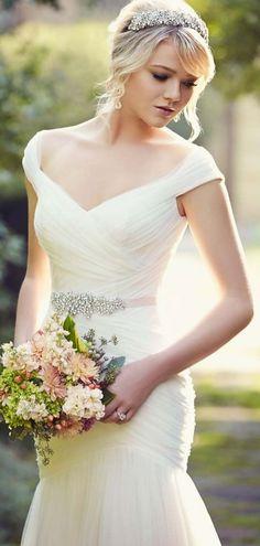 Off Shoulder Capped Sleeves Tulle Ruched Mermaid Wedding Dress wedding+dress+bride