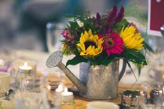 Sunflower centrepiece, watering can centrepiece
