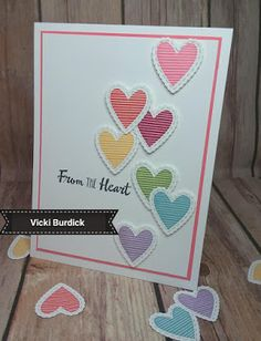 Inspiration: a tumble of tutti-frutti rainbow colored textured hearts Valentine Love Cards, Valentine Crafts, Valentine Ideas, Rainbow Card, Card Tutorials, Card Tags, How To Make Bows, Stamping Up, Greeting Cards Handmade