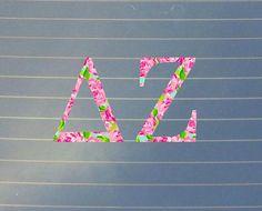 Lilly Pulitzer Inspired Delta Zeta Car Decal   Delta Zeta Car Sticker   Delta Zeta Sorority Decal   Delta Zeta Laptop Decal   Greek   159