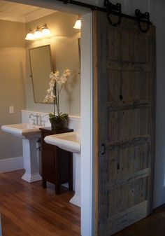 Pasture Lane - The Farm at Banner Elk - Master Bath - traditional - bathroom - charlotte - Christopher Kellie Design Inc. House Design, Barn Door Designs, Remodel, House, Rustic Bathroom, Door Design, Home, Bathroom Design, Traditional Bathroom
