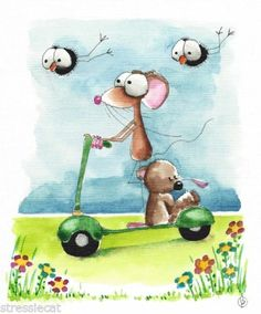 Original Watercolor Folk Art Whimsy Illustration Mouse Teddy Crow Spring Scooter | eBay