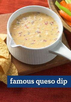 Famous Queso Dip — It's famous for a reason. This game-day queso dip is not only a creamy, delicious appetizer—it may be one of the best reasons for football to exist. Wendy Schultz - Appetizers, Dips and Salsas. Kraft Foods, Kraft Recipes, Dip Recipes, Mexican Food Recipes, Snack Recipes, Cooking Recipes, Recipies, Recipes Dinner, Brunch Recipes