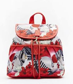 Rucksacks and Bags! Mix Print Backpack RED! School and college bags for women