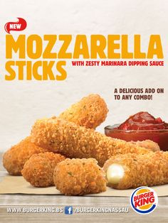 #BurgerKing Introduces The New Mozzarella #Sticks! With zesty marinara sipping sauce.You have to Come and Taste them!