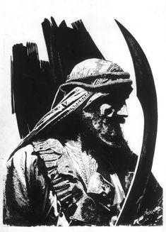 Splash Page Comic Art :: For Sale Artwork :: El Borak Swords of Shahrazar Full Alternate Illo. by artist Tim Bradstreet