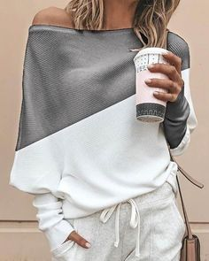 Batwing sleeve casual loose sweater tops pullover Fashion autumn off shoulder knitted sweater Solid grey white knitwear jumper, grey / XL Casual T Shirts, Casual Tops, Casual Chic, Bat Sleeve, Long Sleeve, Short Sleeves, Off Shoulder Fashion, Robes Midi, Shirt Bluse