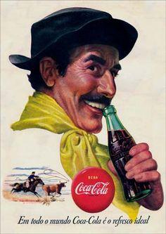 Antiguo #CartelDePublicidad de #CocaCola con la imagen del #Gaucho de la #Pampa #Argentina #Suramérica ...