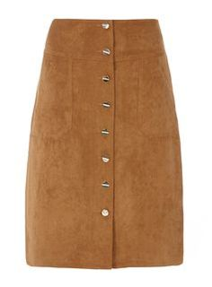 Tan Suedette midi skit with button front detail.<br /><br /> Model is cm) and wears a size White Midi Skirt, Stylish Outfits, Womens Fashion, Ladies Fashion, Mini Skirts, Black And White, Boho, Clothes For Women, Denim