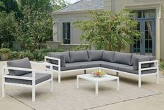 "5 pc liz kona collection white metal frame #patio sectional set with chair and table. This set includes the RAF love, corner seat, LAF love, coffee table and arm chair. Sectional measures 87"" x 87"" x 32"" H. Coffee table measures 28"" x 28"" x 12"" H. Arm chair measures 31"" x 30"" x 32"" H. Some assembly required."
