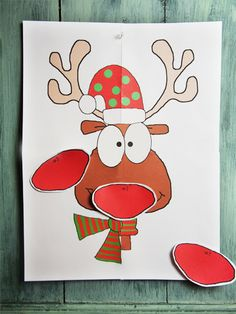 Pin the Nose on Rudolph : Christmas Party Game   Pinterest   Party ...